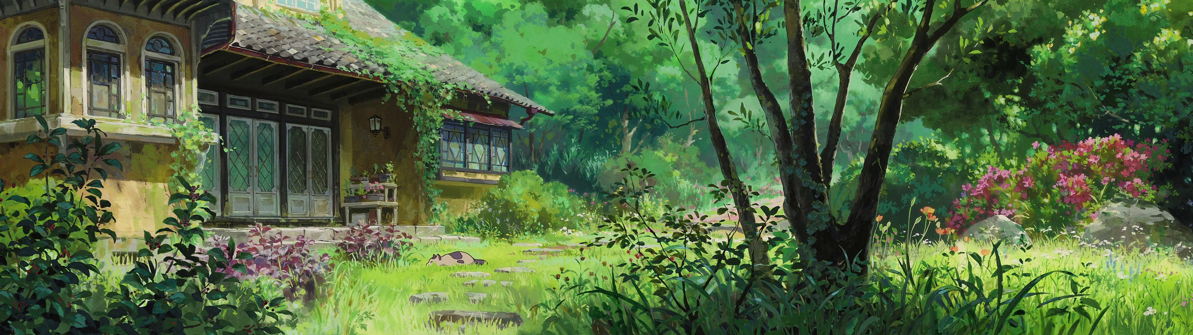 High res 39 dual screen 39 studio ghibli desktop wallpapers for The garden studio