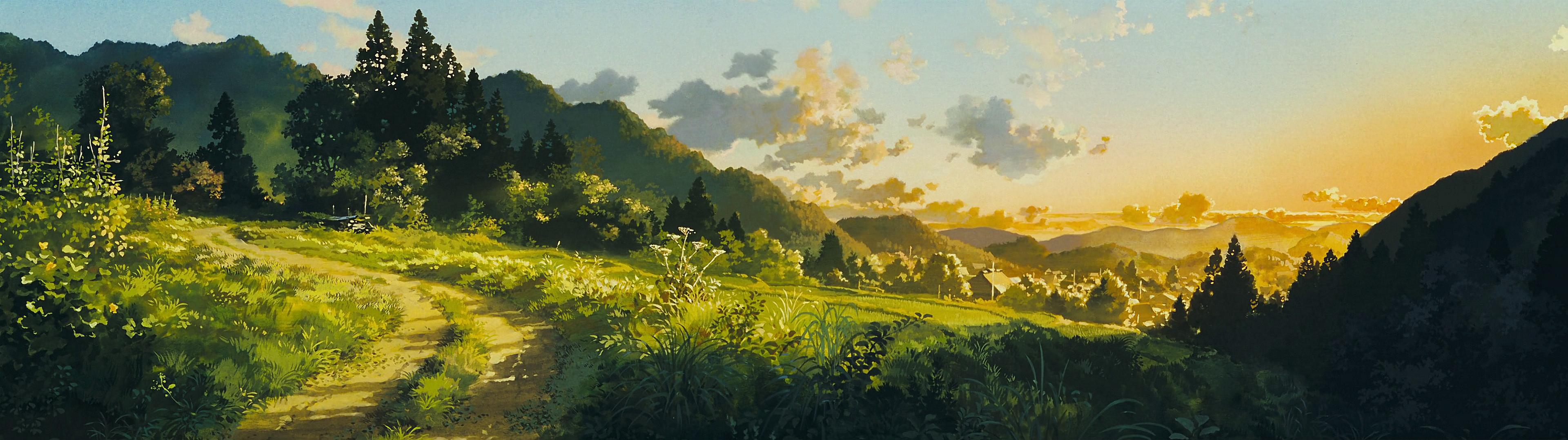 High res dual screen Studio Ghibli desktop wallpapers
