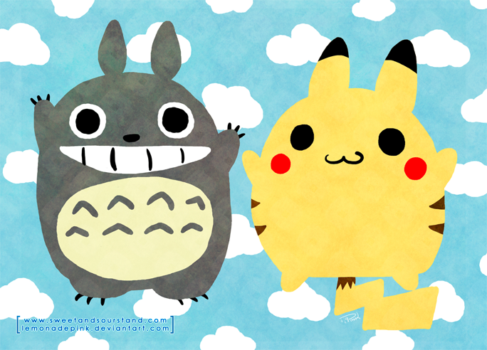totoro_and_pikachu_by_lemonadepink-d6ao8fw