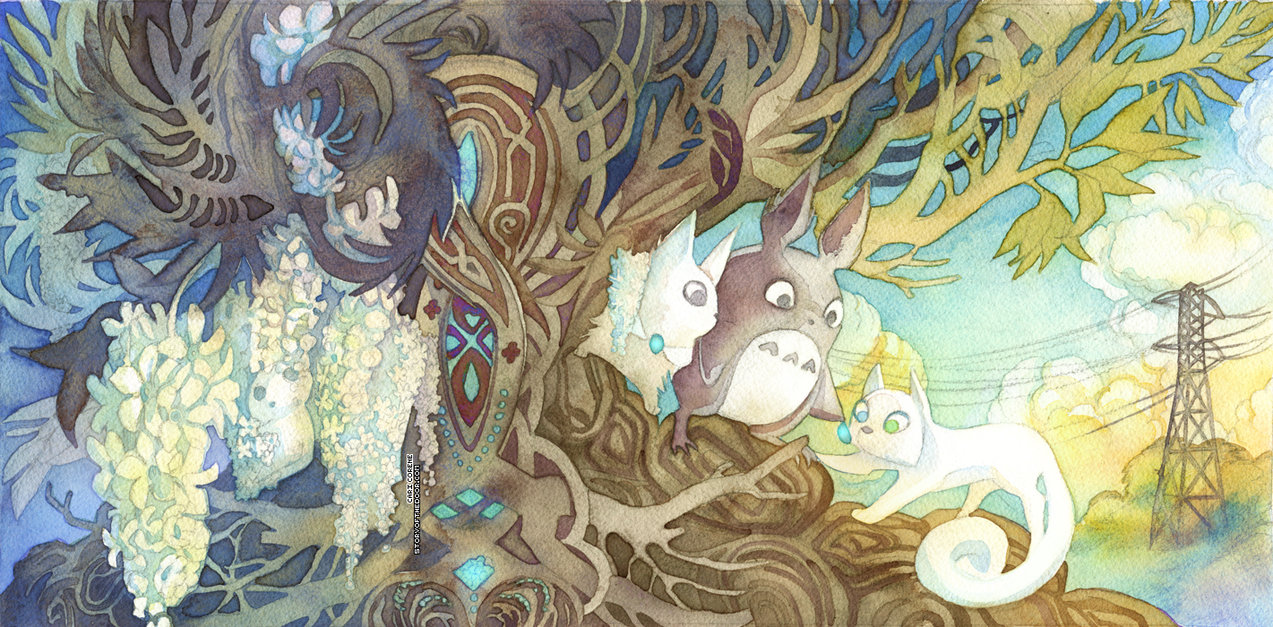 Best Wallpaper Forest Totoro - totoro_and_secret_of_kells_crossover_by_blix_it-d6ppjz8  Collection_401097 .jpg