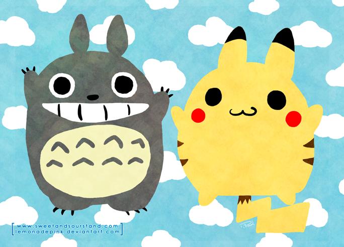 totoro_and_pikachu_by_lemonadepink-d6ao8fw