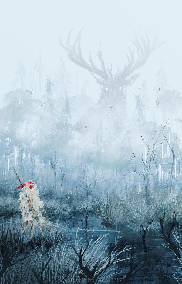 Princess Mononoke Deer God by Anato FinnStark